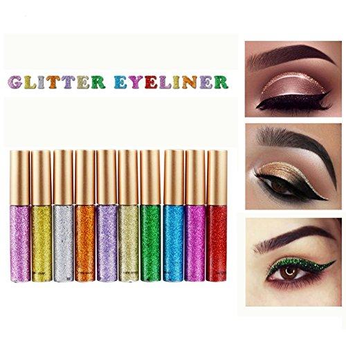 Weicici Eyeliner Glitzer Wasserdicht Schimmer Pigment Silber Gold Metallic Liquid Glitters Eyeliner 10 - Glitter Kleber Make-up