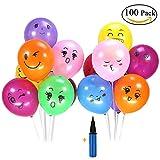 Lezed Ballon Emoji + Pompe à Ballon Mardi Gras Accessoires de Décoration de Ballon de Mariage Décoration de Noël Arrangement de Lieu de Mariage 100 Ballons + 1 Ballon Pompe (Ballons Smiley)...