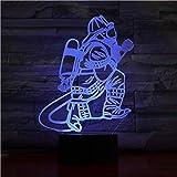 Luci notturne Lampada da tavolo per vigili del fuoco 3D LED Pulsante a sfioramento USB LED 7 Vigili del fuoco che cambiano colore Luce notturna Comodino Decorazione Lampada Regali