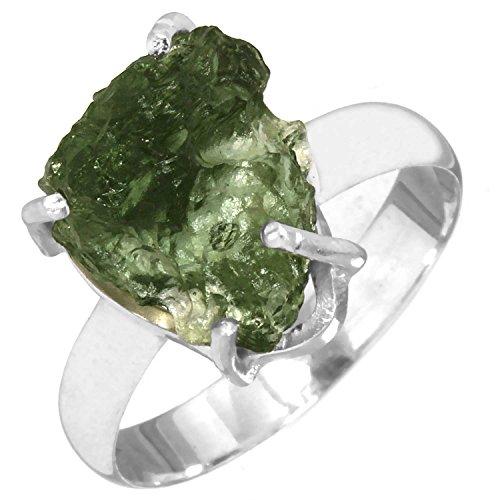 Jeweloporium Solide 925 Sterling Silber Ring Natürliche Tschechisch Moldavit Edelstein Frauen Schmuck Größe 61 (19.4)