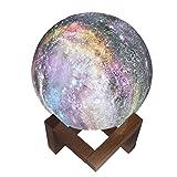 VNEIRW Mond Lampe 3D Nachtlicht 15cm, LED Nachttischlampe mit Fernbedienung, Farbige Dekoleuchte Mondlicht Sternenhimmel mit Touchschalter Dimmbar, 16 Farben für Tolles Geschenk (Bunt)