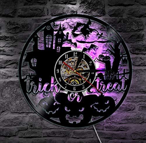 TPFEI 1 neues Angebot 12 Zoll Wachteleier beängstigend Halloween Dekoration Vinyl LP Rekord Wanduhr handgefertigte Geschenke Kinderzimmer (Beängstigend Musik Für Halloween)