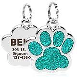 TagME Personalisierter Hund & Katze Marke/Hundemarke aus Edelstahl mit eingraviertem Namen und Telefonnummer/Prickelnde Katzenmarke in Pfotenform/Klein/Türkis