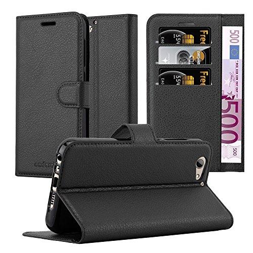 Cadorabo Hülle für HTC ONE A9S - Hülle in Phantom SCHWARZ - Handyhülle mit Kartenfach & Standfunktion - Case Cover Schutzhülle Etui Tasche Book Klapp Style