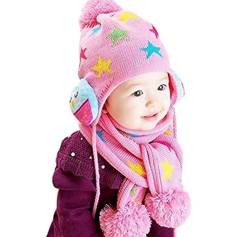 Koly Bebé lindo chicos chicas buho impresión cálida bufanda Set de casquillos (Rosado)