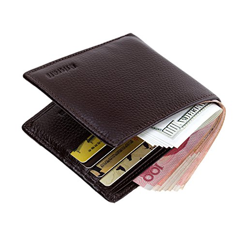 TECOOL Herren Geldbörse Geldbeutel Brieftasche Portemonnaie Wallet echt Leder mit RFID Schutz im Querformat Braun (Leder Gucci Herren)