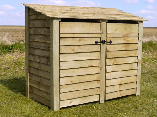Rutland County Garden Furniture COTTESMORE 4FT - WOODEN LOG STORE/GARDEN STORAGE, WITH DOORS, GREEN, HEAVY DUTY, HAND MADE, PRESSURE TREATED.
