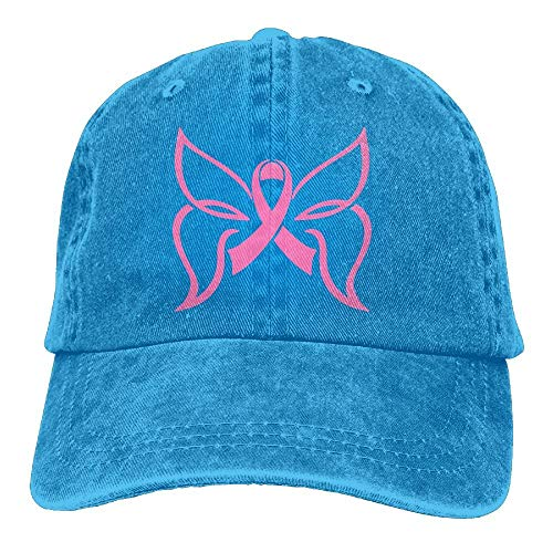 asagooder Men and Women Pink Ribbon Butterfly Vintage Jeans Baseball Cap -
