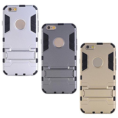 HuaForCity® Apple iPhone 6s Plus 6 Plus Hülle X 3 PCS Bumper Heavy Duty Serie Stoßfest Dual Layer Armor Case Handy Schutzhülle mit Gürtel-Clip Ständer Shockproof Robuste Hülle für Apple iPhone 6s Plus 6 Plus