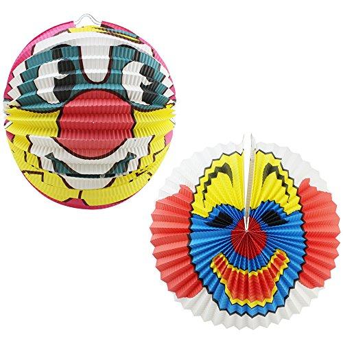 com-four® 2 Laternen für Kinder aus Papier mit Clown-Gesichtern, Lampion für Kinder, Ø 36 cm und Ø 42 cm (02 Stück - Clown Mix 1)