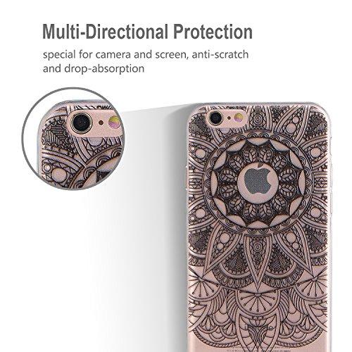 iphone 6 / 6s Hülle, E-Lush TPU Soft Silikon Tasche Transparent Schale Clear Klar Hanytasche für iphone 6 / 6s (4.7 Zoll) Durchsichtig Rückschale Ultra Slim Thin Dünne Schutzhülle Weiche Flexibel Hand Schwarze scharfe Ecken