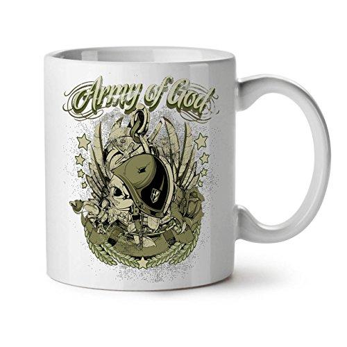 Wellcoda Armee Von Gott Pilot Schädel Keramiktasse, Schädel - 11 oz Tasse - Großer, Easy-Grip-Griff, Zwei-seitiger Druck, Ideal für Kaffee- und (Armee Pilot Kostüm)