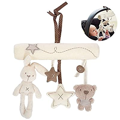 D&&R Baby Music Bed Hanging Cribs Toy, Cute Plush Activity Stroller Soft Toys Hanging Rattle Gift for Pushchair Pram Car Seat Cot from, Rabbit Star Shape