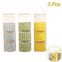 3Pcs Wall Hanging Storage Bag, Creatiees Waterproof Over The Door Closet Organizer| Linen Farbric Hanging Pocket Organizer with 3 Remote-Sized Pockets for Bedroom, Bathroom(Yellow + Gray +Green)