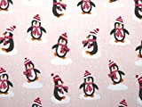 Weihnachten Pinguin Print Polycotton Kleid Stoff pink–Meterware