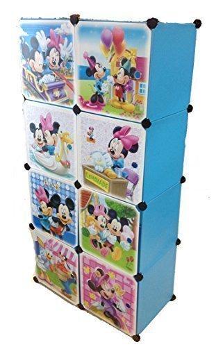 Sistema di scaffalature armadio vestiti vivaio di mensola guardaroba mobili bambini armadio - 8 blu