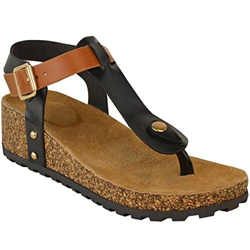 Novas Sandálias De Cunha Mulheres Salto Confortáveis dedos Acolchoados Sapatos Trenner Palmilha Tamanho Couro Preto