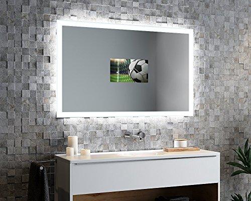 Spiegelando Aurora V40 - TV Spiegel mit LED Beleuchtung KONFIGURIEREN - Verschiedene Zusatzoptionen auswählbar - Made in Germany - (Breite) 60 cm x (Höhe) 60 cm