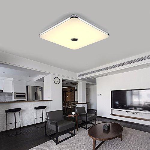 Dimmbare Deckenleuchte mitFernbedienung und Bluetooth Lautsprecher 54W FurWohnzimmer,Schlafzimmer,KücheundEsszimmer(Silber) JDONG 10506-54W-LY