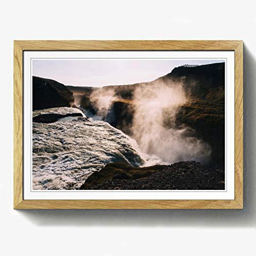 BIG Box Art Landschaft Wasserfall Print mit schwarzem Rahmen, Mehrfarbig, Größe A2, 24,5x 18_ P, Holz, Eiche, 24.5 x 18-Inch/A2 -