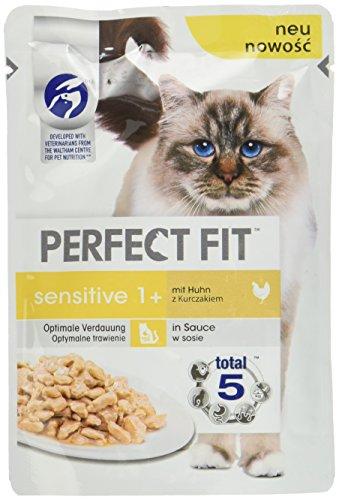 Perfect Fit Katzenfutter Nassfutter Sensitive Adult 1+ mit Huhn in Sauce, 12 Portionsbeutel (12 x 85 g)