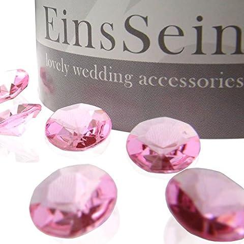 1000x Diamantkristalle 12mm rosa EinsSein® Dekoration Streudeko Konfetti Tischdeko Hochzeit Diamanten Diamant Glas groß