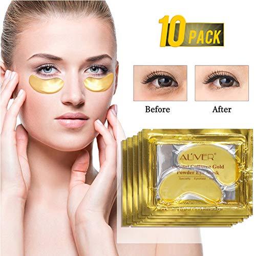 Ardorlove 24K Gold Crystal Collagen Eye Mask Anti Aging/Dark Circles/Puffiness/Wrinkles Moisturizing Eye Masks Gel 10 pack