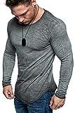 Amaci&Sons Oversize Herren Longsleeve Vintage Sweatshirt O-Neck Basic O-Ausschnitt Shirt 6097 Anthrazit Verwaschen S
