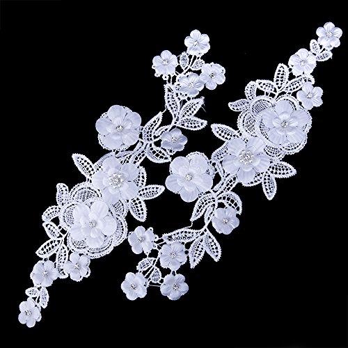 Smiry 2pz bianco ricamato, con motivo floreale con filo da ricamo in pizzo applique per abito da sposa da sposa abiti fai da te white 4