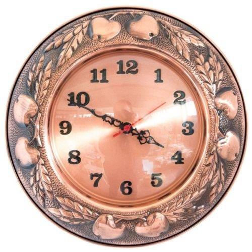 Horloge murale en cuivre brillant made in italy avec décoration de fruits