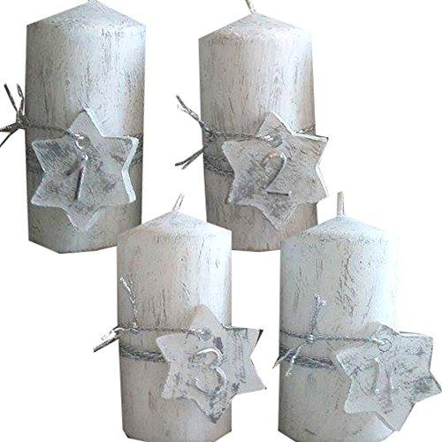 Weihnachten Zahlen 1234 Kerzenset 4 Stück Stumpenkerzen Adventskerzen 100x50 Dekokerzen Kerzen mit Stern für Adventskranz weiss grau silber IW17