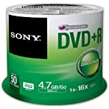Sony DVD+R 120 minutes Spindle Pack of 50 50DPR47SP