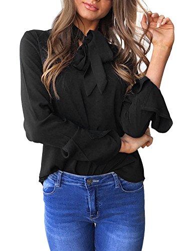 Aitos Blusen Damen Langarmshirt Oberteile V-Ausschnitt Flare Hülse Elegant Chic Lose Vintage Hemd Tuniken T Shirt Einfarbig Plain Casual Freizeit Schwarz 34-36/S (T-shirt Lager Schwarz)