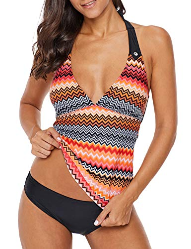 Kalin Damen Badeanzug mit V-Ausschnitt, florales Muster, Bademode - orange - XXX-Large Orange Floral Muster