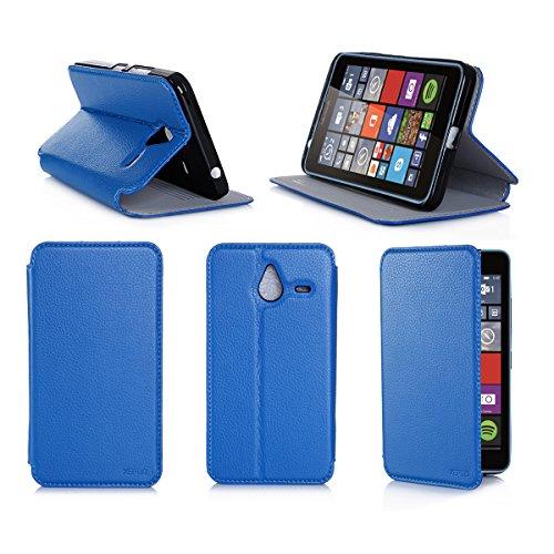 Etui luxe Microsoft Lumia 640 XL 4G/LTE (ex Nokia) Dual Sim bleu Ultra Slim Cuir Style avec stand - Housse Folio Flip Cover coque de protection smartphone phablette Microsoft 640 XL bleue 5,7 pouces - Accessoire XEPTIO case