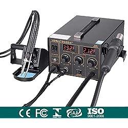 Station de Soudage 968DA+ Fer à Souder 3 en 1 Station de Réparation Air Chaud Température Contrôlée 100℃-480℃ avec LED Digital Précis
