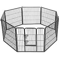 SONGMICS 8-tlg Welpenauslauf für Hunde Kaninchen kleine Haustiere 80 x 80 cm Farben auswählbar (Grau) PPK88G
