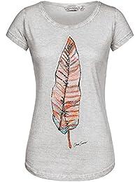 Urban Surface Damen T-Shirt Top Feder Feather LUS-097 Pailletten-Print