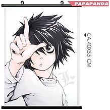 papapanda rollo desplazamiento de pared Scroll para Death Note L arte Kakemono tela Póster Anime Manga perdedor dedo