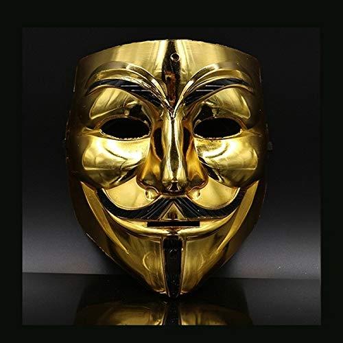 Cosplay Rorschach Kostüm - AMSIXP Maske Heißer Weiß/Gold/Silber/gelb, Guy Fawkes Maske Halloween Cosplay Kostüme Party Liefert 20 cm