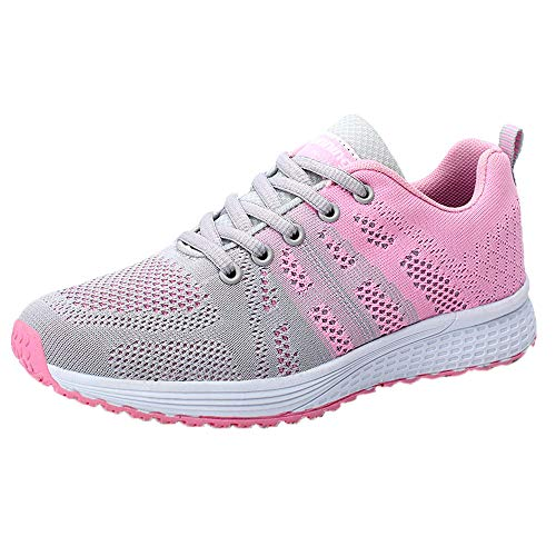 ‿ Loveso Mode Schuhe Damen,Frauen Berufsschuhe Cross-Trainer Sneaker Schuh-Slip-on Turnschuhe Outdoor-Sportarten Gehen Flache Schuhe (EU:39, Grau)
