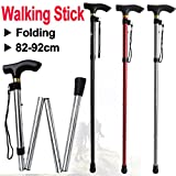 Beyondfashion 82- 92cm & Black/Red/Silver Walking Stick Aluminium Folding Easy Adjustable Light Weight Support Aid Cane (Black)