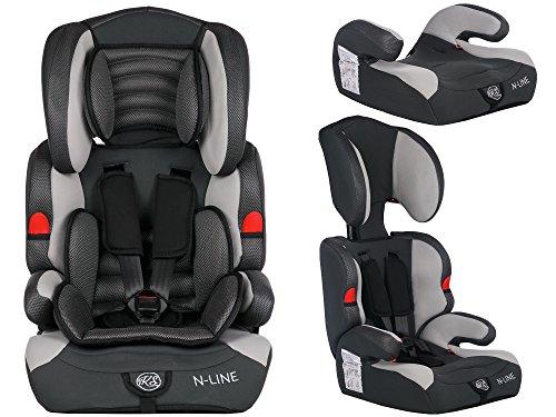 Autokindersitz Autositz Kinderautositz mit Extrapolster Kids 9-36 kg 1+2+3 ECE 4 Farben NEU Kindersafety NEU + ECE R44/04 geprüft, Farbe BLAU GRAU PINK ORANGE 5-Punkte-Sicherheitsgurt Kopfstütze verstellbar … (KP0039GRY)