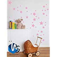 55 Mixed size Stars Wall Stickers Kid Decal Art Nursery Bedroom Vinyl Decoration (Baby Pink)