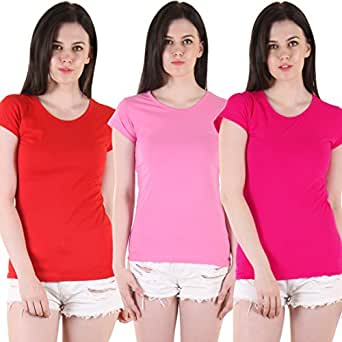 Diaz Soft Cotton Round Neck Top For Women Pack Of 3