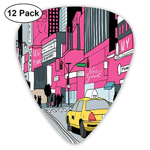 Celluloid Guitar Picks - 12 Pack,Abstract Art Colorful Designs,View Of Manhattan And A Taxi Cab At Times Square,For Bass Electric & Acoustic Guitars.