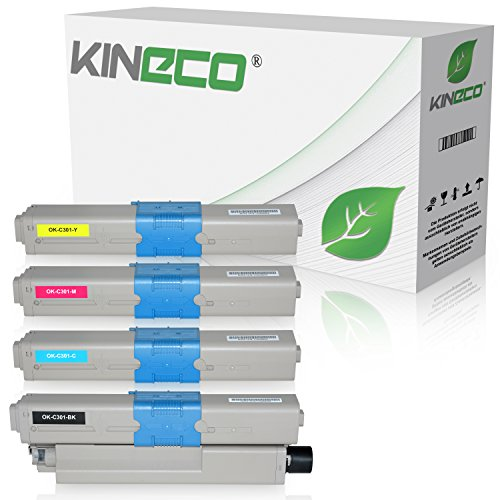 4 Toner kompatibel zu Oki C301 C321 DN MC-332 DN 340 Series 342 DN DNW - 44973536 44973535 44973534 44973533 - Schwarz 2.200 Seiten, Color je 1.500 Seiten