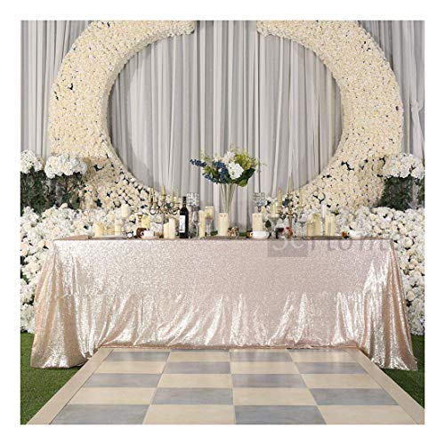 3e Home Rechteck Pailletten Tischdecke für Party Kuchen Dessert Tisch Ausstellung Veranstaltungen, Textil, champagnerfarben, 50×72''