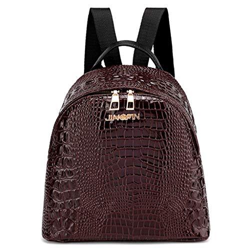 Skang Damen Mini Rucksack Backpack Mode Wild Krokodilmuster Mit Reißverschluss Daypacks Schüler Bag Schultaschen Messenger Handtasche (Einheitsgröße,Kaffee)