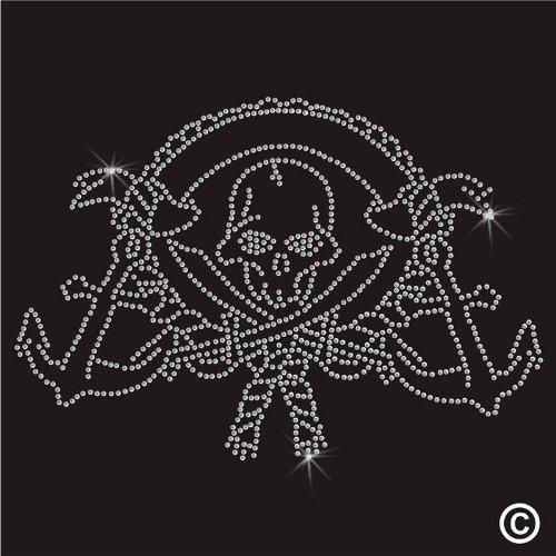 Preisvergleich Produktbild Strasssteine zum Aufbügeln auf T Shirt Design Übertragung–NUTRICAL SWORD SKULL